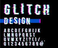 In stijl vervormde glitch lettersoort Letters en getallen vectorillustratie Glitch doopvontontwerp Stock Fotografie