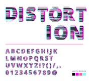 In stijl vervormde glitch lettersoort Letters en getallen vectorillustratie Glitch doopvontontwerp Royalty-vrije Stock Foto's