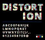In stijl vervormde glitch lettersoort Letters en getallen vectorillustratie Glitch doopvontontwerp Royalty-vrije Stock Foto