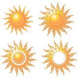 Stijl vier van gouden zon stock illustratie