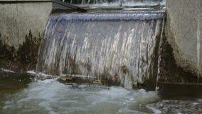 Stikaet dell'acqua giù Una piccola cascata in una fontana archivi video