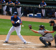 Stike Call. A Texas Ranger professional baseball player takes a strike call while batting during a game against the Seattle Mariners on May 13, 2008 in Arlington Royalty Free Stock Photography