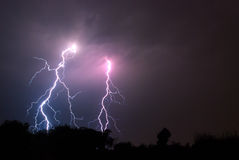 Stike Two!. Multiple lightning strike on the horizon during a thunder storm Stock Image