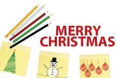 3 stikerami novii god so snegovikom i karandashami4. Hand-drawn christmas tree and santa claus and snowman on three yellow stickers. Greeting card. Vector with stock illustration