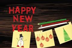 3 stikerami novii god so snegovikom i karandashami na der fone2. Hand-drawn christmas tree and snowman and red balls on three yellow stickers. Greeting card royalty free illustration