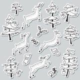 Stikers Christmad doodle που τίθενται με το χριστουγεννιάτικο δέντρο που διακοσμείται με Στοκ φωτογραφία με δικαίωμα ελεύθερης χρήσης
