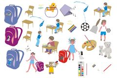 Stikers  for school year. Set of 24 icons vector a prize pupil through school year Royalty Free Stock Images
