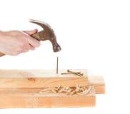 Stiking ein Nagel mit einem Hammer lizenzfreies stockfoto