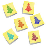 Stikkery-Illustration mit farbigen Weihnachtsbäumen Vektor Abbildung