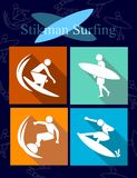Stikman surfing vector icon-sign-symbol,a variety of surfing styles,flat vector isolated on orange-green-yellow-blue color,can be stock illustration