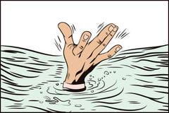 Stil av popkonst och gamla komiker Handdrunkningman royaltyfri illustrationer