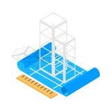 Stil 3d för symbol för plan för byggnadskonstruktion isometrisk royaltyfri illustrationer