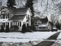 Stil dorp in de winter stock fotografie