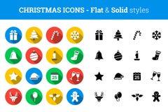 """Stil för †för julsymbolsuppsättning plan och fast """" Arkivbild"""
