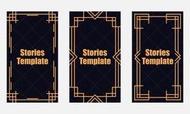 Stil för berättelsemallart déco Linjär gräns för tappning Stil av 20-tal och 30-tal vektor stock illustrationer