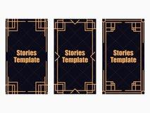 Stil för berättelsemallart déco Linjär gräns för tappning Stil av 20-tal och 30-tal vektor vektor illustrationer