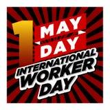 Stil för day_retro för arbetare för Maj dag internationell royaltyfri illustrationer