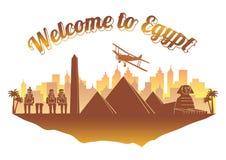 Stil för Egypten berömd gränsmärkekontur på orange och brun lopp och turism för namn för färgöland text för flöte, royaltyfri illustrationer