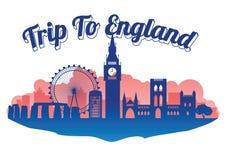 Stil för England berömd gränsmärkekontur på för gränsmärkekontur för ö berömd stil, runt om världen, lopp och turism vektor illustrationer