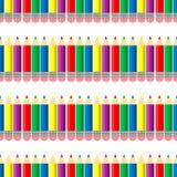 Stil för färgblyertspennaregnbåge, sömlös illustration för vektor för blyertspennor för blyertspennamodellfärg på vit bakgrund royaltyfri illustrationer