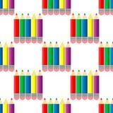 Stil för färgblyertspennaregnbåge, sömlös illustration för vektor för blyertspennor för blyertspennamodellfärg på vit bakgrund stock illustrationer