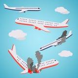 Stil för flygplanskraschvektorlägenhet Arkivfoto