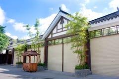 stil för grönt hus för bambu kinesisk Arkivbilder