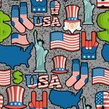 Stil för grunge för modell USA för patriotiskt symbol sömlös Klottret utformar royaltyfri illustrationer