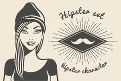 Stil för hipster för flicka för tappningbakgrund härlig Text för HipsterstilSunburst också vektor för coreldrawillustration Royaltyfria Foton