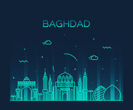 Stil för illustration för Baghdad horisontvektor linjär Arkivfoto