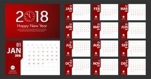 Stil för kalender för nytt år 2018 enkel modern röd white Händelsestadsplanerare Arkivfoto