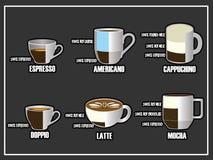 Stil för kopp för blandad symbol för kaffe kluven på svart tavla Arkivbilder