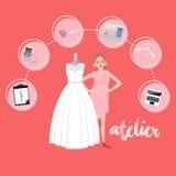 Stil för lägenhet för symbol för textil för affär för Atelierkvinnaockupation brud- Royaltyfri Foto