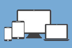 Stil för lägenhet för telefon för minnestavlabärbar datorskärm på blå bakgrund Royaltyfri Foto