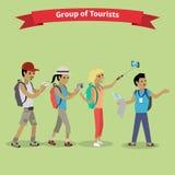 Stil för lägenhet för turistfolkgrupp vektor illustrationer