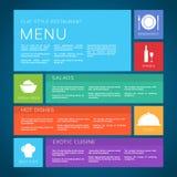 Stil för lägenhet för vektor för restaurangmenymall Arkivfoton