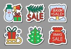 Stil för lägenhet för uppsättning för klistermärke för symbol för julsäsongförsäljning vektor illustrationer