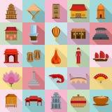 Stil för lägenhet för uppsättning för symboler för Vietnam loppturism vektor illustrationer