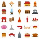 Stil för lägenhet för uppsättning för symboler för Vietnam loppturism stock illustrationer