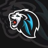 Stil f?r logo f?r sport f?r lejonhuvud e vektor illustrationer