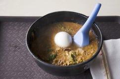 Stil för malaysian för nudelsoppa med det kokta ägget arkivbilder