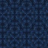 Stil för sashiko för motiv för blommablad damast S?ml?s vektormodell f?r japanskt handarbete Snör åt indigoblå blått för handhäft vektor illustrationer