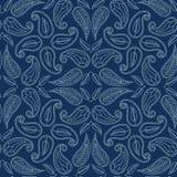 Stil för sashiko för motiv för lövverkblad damast S?ml?s vektormodell f?r japanskt handarbete Snör åt indigoblå blått för handhäf stock illustrationer