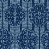 Stil för sashiko för motiv för Lotus blomma S?ml?s vektormodell f?r japanskt handarbete Handen sydde det indigoblå blålinjentexti royaltyfri illustrationer