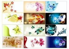 stil för set för bussineskort blom- Royaltyfri Illustrationer