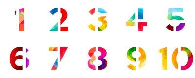 Stil för stilsort för abstrakt ljust alfabet för regnbågepolygonnummer färgrik en två tre fyra fem sex sju åtta nio tio nollsiffr Arkivfoto