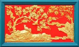 stil för stuckatur för kinesisk designguld infödd arkivbild