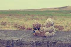 Stil för tappning för två förhandlingar för nallebjörnar royaltyfria bilder