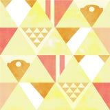 Stil för tappning för vit triangel för gul brunt röd geometrisk sömlös Fotografering för Bildbyråer