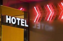 stil för tecken för hotell för byggnadsfabrik historisk Royaltyfri Bild